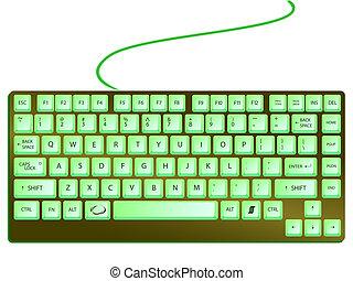 verde, brilhante, teclado