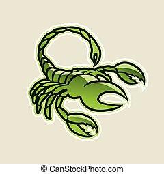 verde, brillante, escorpión, icono, vector, ilustración