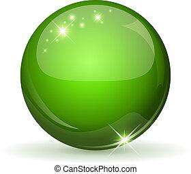 verde, brillante, esfera, aislado, en, whi