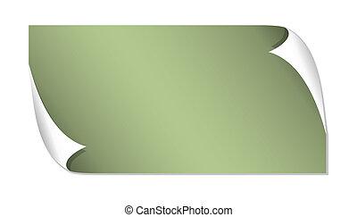 verde, brillante, etiqueta