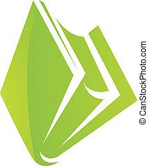 verde, brillante, libro, icono