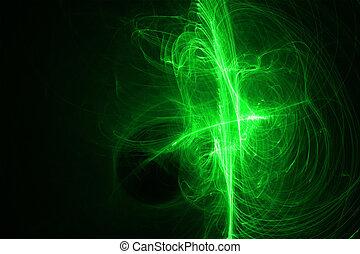 verde, brillo, energía, onda