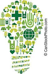verde, bulbo, con, ambientale, icone