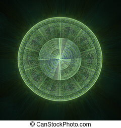 verde, círculo, fractal, irradiar
