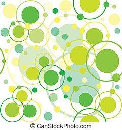 verde, círculos, e, pontos, padrão, abstratos, fundo
