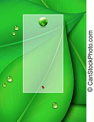 verde, cópia, folha, fundo, espaço
