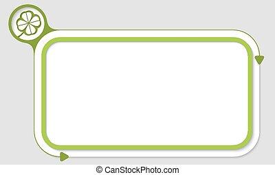 verde, caja, para, su, texto, y, hoja de trébol