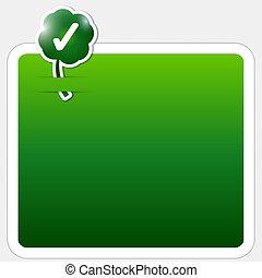 verde, caja, para, texto, con, hoja de trébol