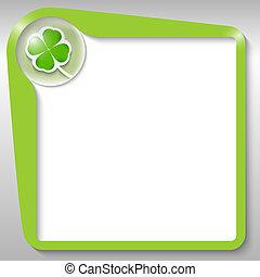verde, caja texto, con, hoja de trébol