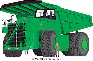 verde, caminhão, dumper