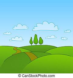 verde, campo, e, árvores