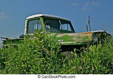 verde, capim, antigas, caminhão, longo