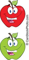 verde, carácter, manzana, rojo