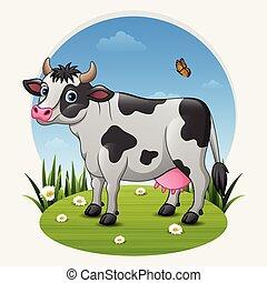 verde, caricatura, vaca, prado