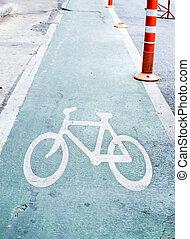 verde, carril de bicicleta