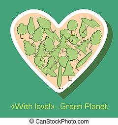 verde, cartão postal, proteção ambiente