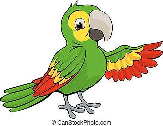 verde, cartone animato, pappagallo