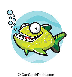 verde, cartone animato, piranha