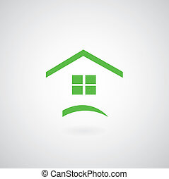 verde, casa, simbolo