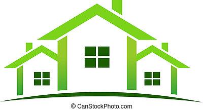 verde, casas, logotipo