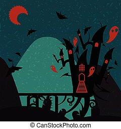verde, castello, halloween, rosso