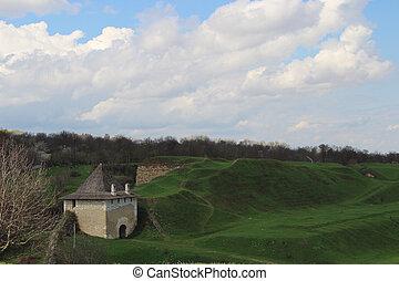 verde, castello, vecchio, campo, pietra