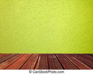 verde, cemento, parete, con, pavimento legno