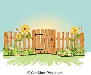 verde, cerca madeira, portão