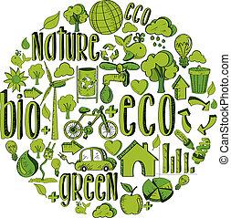 verde, cerchio, con, ambientale, icone