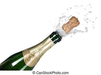 verde, champaña, explosión, botella, corcho