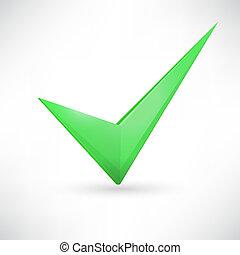 verde, checkmark.