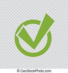 verde, checkmark, icon.