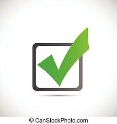 verde, cheque, ilustración, marca