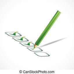 verde, cheque, list., vetorial, ilustração