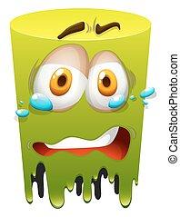 verde, chorando, rosto