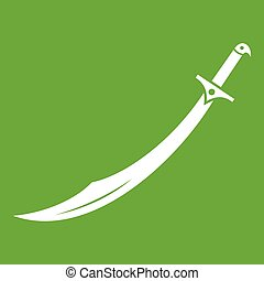 verde, cimitarra, espada, icono