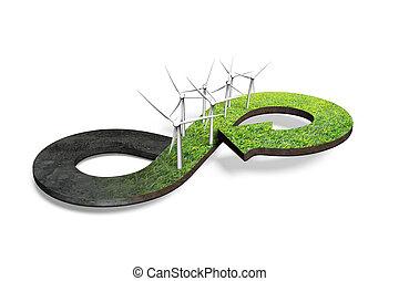 verde, circular, economía, concepto, 3d, interpretación