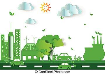 verde, città, con, eco, concetto, elements., vettore, illustrazione