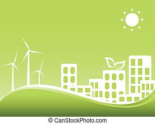 verde, ciudad, con, enrolle turbinas
