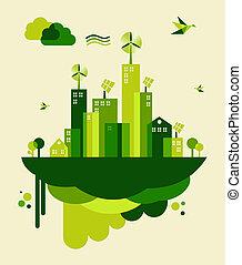 verde, ciudad, concepto, ilustración