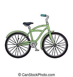 verde, clásico, bicicleta