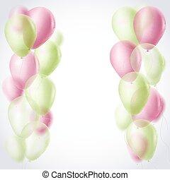 verde claro, e, vermelho, balões, borda, celebração, experiência., vetorial, ilustração
