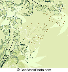 verde claro, fundo, floral, elegante, flores, contorno