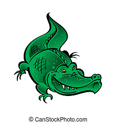verde, cocodrilo
