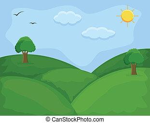 verde, -, colinas, plano de fondo, caricatura