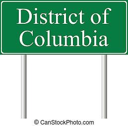 verde, columbia, strada, distretto, segno