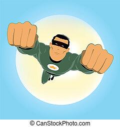 verde, comic-like, héroe super