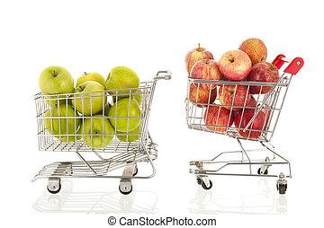 verde, compras, manzanas, carrito, rojo