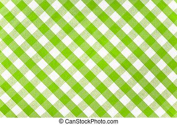 verde, comprobado, tela, mantel