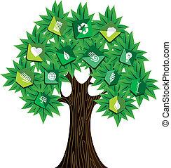 verde, conceito, árvore, recursos